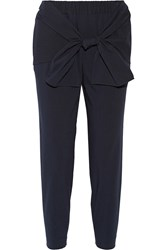 Tibi Tie Front Seersucker Stretch Cotton Blend Tapered Pants Blue