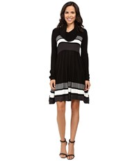 Calvin Klein Color Block Fit And Flare Sweater Dress Cd6w4pu5 Black Multi Women's Dress