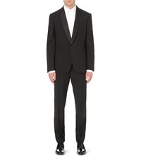 Alexander Mcqueen Tailored Fit Wool And Mohair Blend Tuxedo Jacket Black Black
