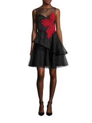 Nha Khanh Andrea Tiered Fit And Flare Dress Black Red