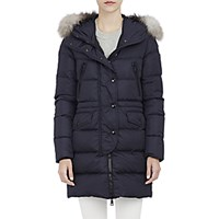 Moncler Women's Parka With Fur Trimmed Hood Navy