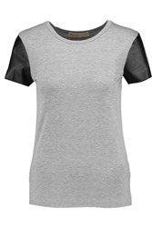 Michael Michael Kors Stretch Jersey And Faux Leather T Shirt Gray