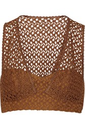Missoni Cropped Crochet Knit Top Brown