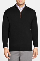 Men's Peter Millar Leather Trim Quarter Zip Pullover Sweater