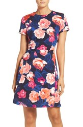 Eliza J Petite Women's Floral Ponte Fit And Flare Dress Navy Multi
