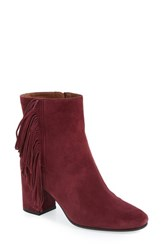Frye Women's 'Jodi' Fringe Leather Bootie Bordeaux Suede