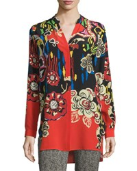 Etro Bold Floral Print Silk Tunic Red