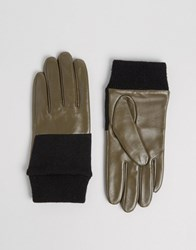 Asos Leather And Knit Mix Gloves Khaki Green