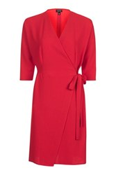 Topshop Batwing Sleeve Wrap Dress Red