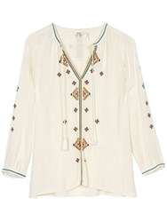 Fat Face Tania Embroidered Popover Top Ivory