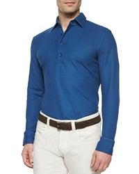 Loro Piana Huck Lace Long Sleeve Polo Shirt Blue