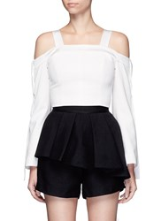 C Meo Collective Outgrown' Satin Trim Cold Shoulder Cropped Top White