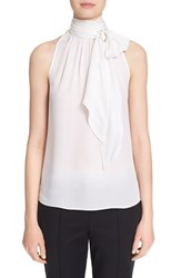 Women's St. John Collection Tie Neck Silk Georgette Shell