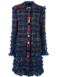 Msgm Embellished Boucle Coat Multicolour