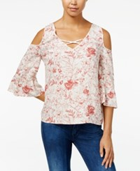 One Hart Juniors' Cold Shoulder Ruffle Sleeve Blouse Only At Macy's Rustic Rouge Floral