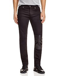 Mcq By Alexander Mcqueen Strummer Leather Patch Slim Fit Jeans Darkest Black