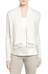 Women's Elie Tahari 'Kayla' Lace Trim Open Front Crop Cardigan