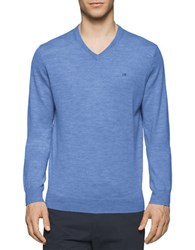 Calvin Klein Solid Merino Wool V Neck Sweater Shuttle