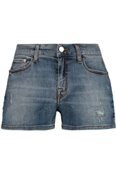 Victoria Beckham Boyfriend Stretch Denim Shorts Blue