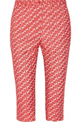 Missoni Cropped Embroidered Crepe Slim Leg Pants Pink