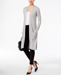 Joseph A Ribbed Metallic Duster Cardigan Silver