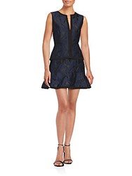 Bcbgmaxazria Embossed Peplum Dress Dark Blue