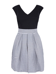 Almari Stripe Taffeta Contrast Dress Black White