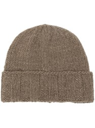 The Elder Statesman Ribbed Turn Up Hem Beanie Brown