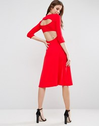 Asos Midi Skater Dress With Cut Out Back Red Oxblood