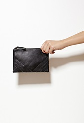 Forever 21 Collina By Collina Strada Ricco Duo Leather Clutch Matte Black