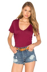 Bobi Light Weight Jersey V Neck Front Pocket Tee Burgundy