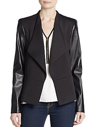 Calvin Klein Faux Leather Sleeve Ponte Knit Jacket Black
