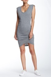 Pam And Gela Scoop Neck Twisted Knit Dress Gray
