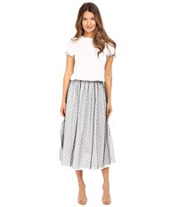 Red Valentino Light Cotton Jersey And Point D'esprit Dress Black White