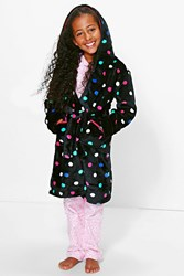 Boohoo Polka Dot Dressing Gown Black