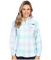 Columbia Super Bahama L S Shirt Miami Multi Plaid Women's Long Sleeve Button Up Green