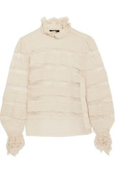 Isabel Marant Sondra Pintucked Silk Georgette And Lace Turtleneck Blouse Ecru