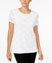 Charter Club Short Sleeve Solid Allover Lace Top Only At Macy's Bright White