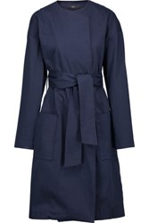 Tibi Cotton Blend Trench Coat Navy