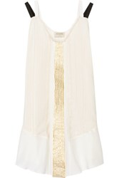 Zeus Dione Alcmene Metallic Striped Silk Crepe De Chine Mini Dress Ivory