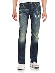 Cult Of Individuality Rebel Distressed Straight Leg Jeans Dark Blue