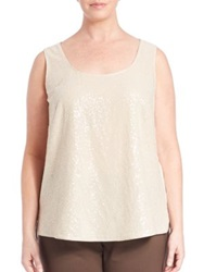 Lafayette 148 New York Plus Size Silk Georgette Cleo Sequin Front Blouse Gold
