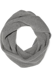 The Elder Statesman Infinity Ribbed Knit Cashmere Scarf Light Gray