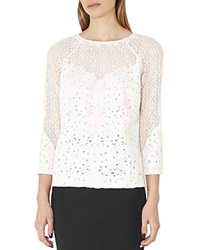 Reiss Shell Mixed Lace Top