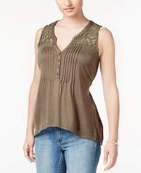 American Rag Crochet Trim High Low Top Only At Macy's Dusty Olive
