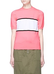 Plys 'Cyclist Span' Neon Colourblock Sweater Pink Multi Colour