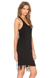 Bobi Slubbed Jersey Scoop Neck Fringe Tank Dress Black