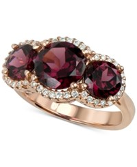 Macy's Rhodolite Garnet 5 Ct. T.W. And Diamond 1 4 Ct. T.W. Three Stone Ring In 14K Rose Gold