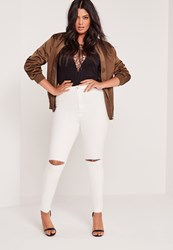 Missguided Plus Size Super Stretch High Waist Ripped Knee Jeans White White