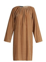 Rochas Pleated Neck Velvet Dress Light Beige